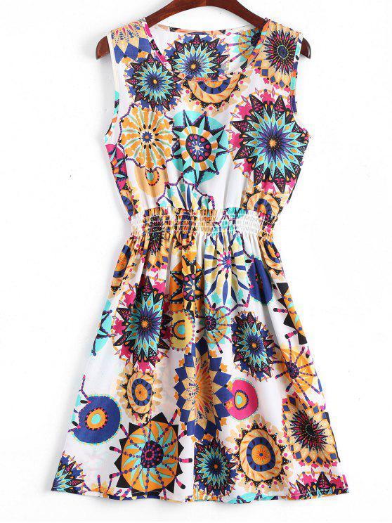 A فستان سموكيد الخصر طباعة الأزهار بخط - أبيض M