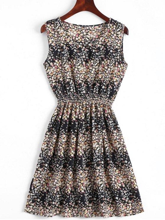 A فستان سموكيد الخصر طباعة الأزهار بخط - أسود M