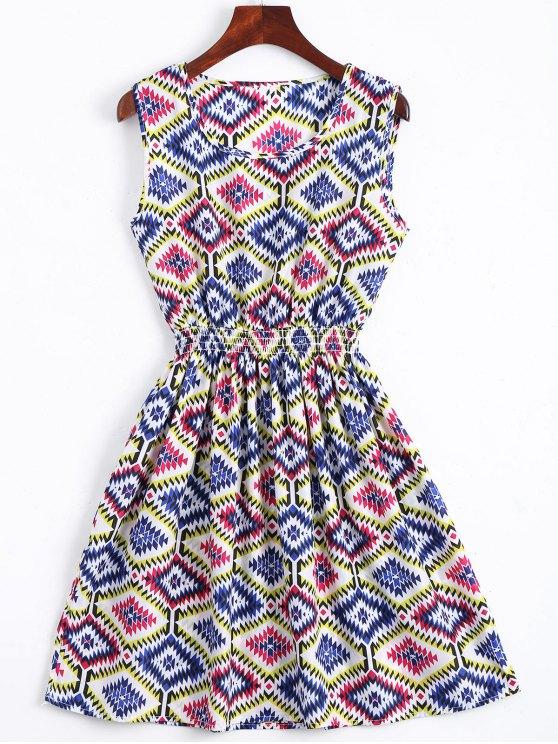 shops Smocked Panel Geometric A Line Mini Dress - BLUE S