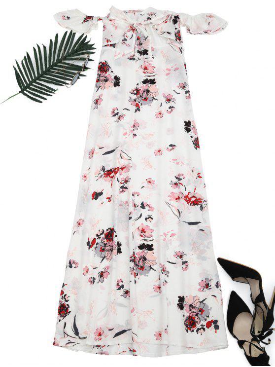 الأزهار المطبوعة عالية الشق فستان ماكسي - الأزهار S