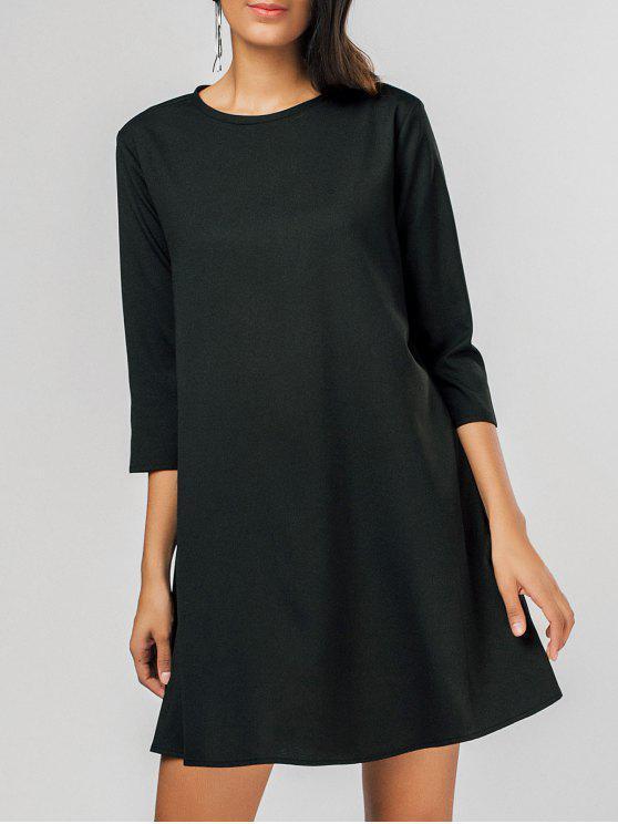 فستان مريح ثقب المفتاح سوينغ مصغر - أسود M