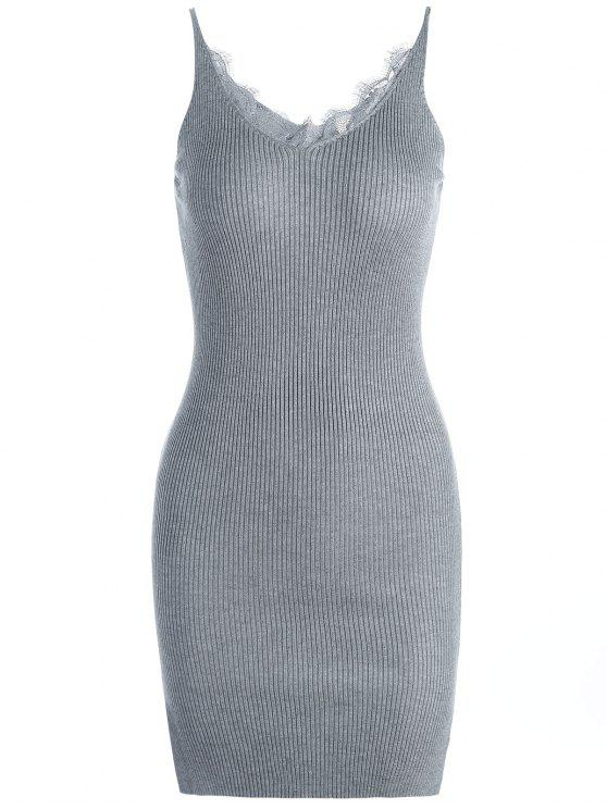 women Lace Panel Side Slit Knitted Dress - GRAY ONE SIZE