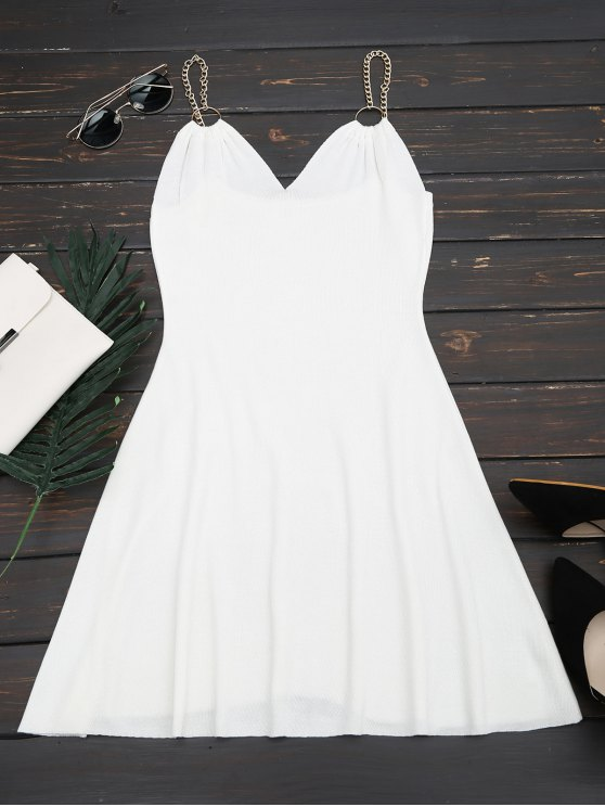 lady Ring Embellished Knitted Flare Dress - WHITE ONE SIZE