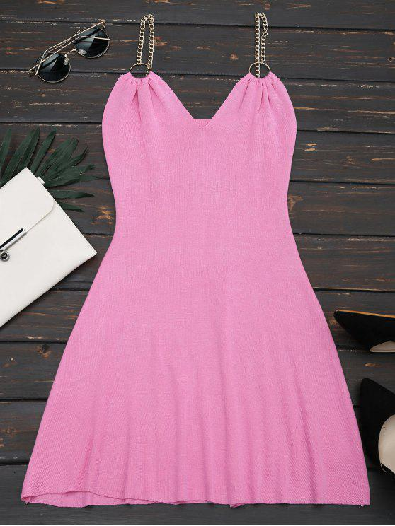 best Ring Embellished Knitted Flare Dress - ROSY PINK ONE SIZE