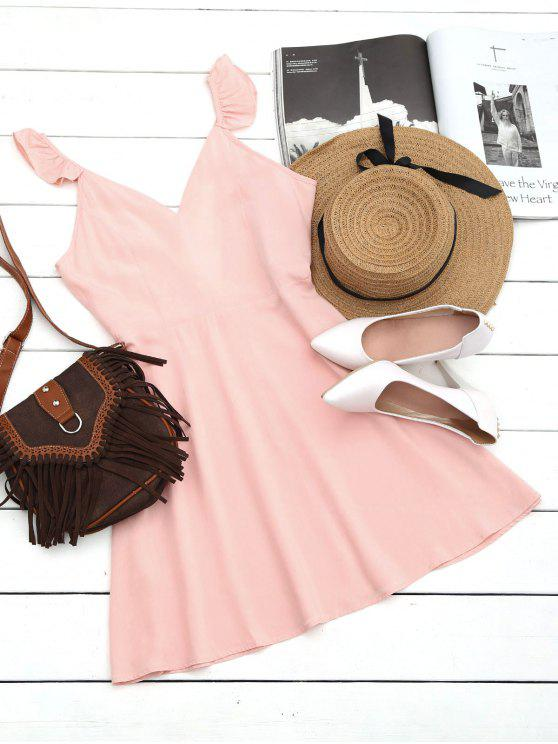 fashion V Shaped Back Ruffled Strap Flare Dress - PINK L