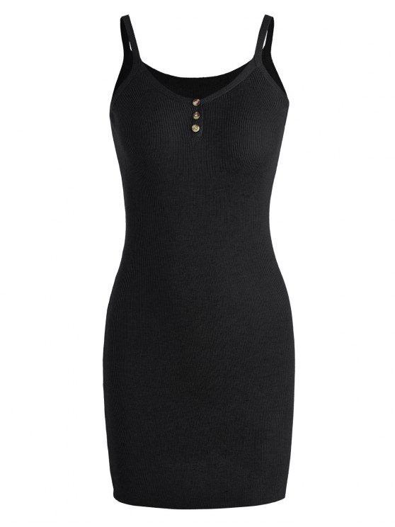 Robe mini à bretelle tricotée - Noir TAILLE MOYENNE