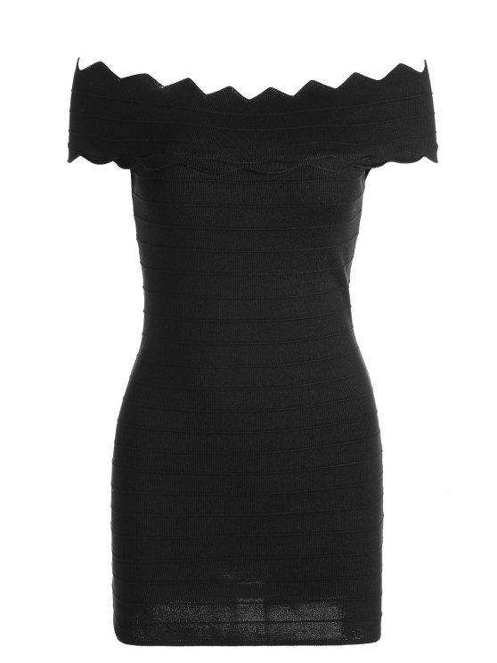 Robe moulante épaules dénudées avec ourlet zigzag - Noir TAILLE MOYENNE