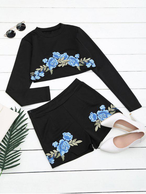 lady Floral Patched Top and Shorts Set - BLACK M