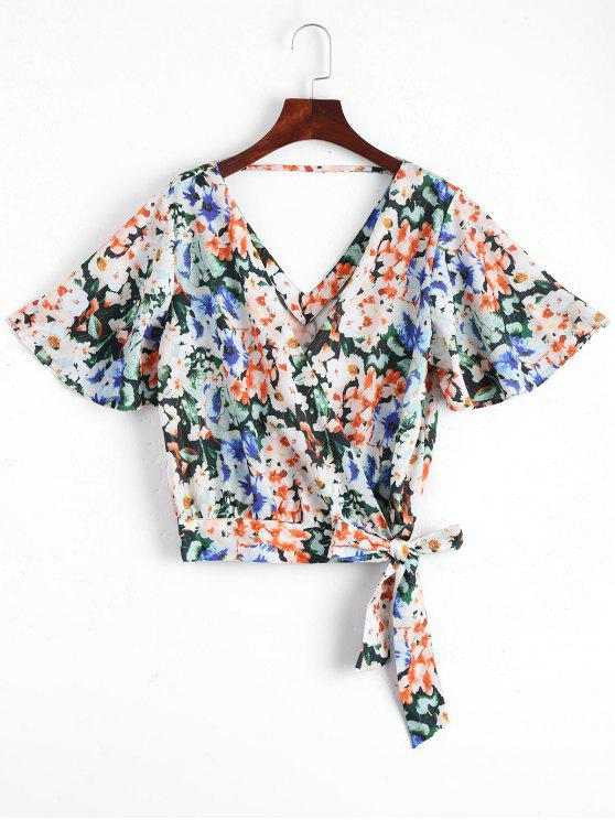 latest Floral Bowknot Wrap Top - FLORAL S