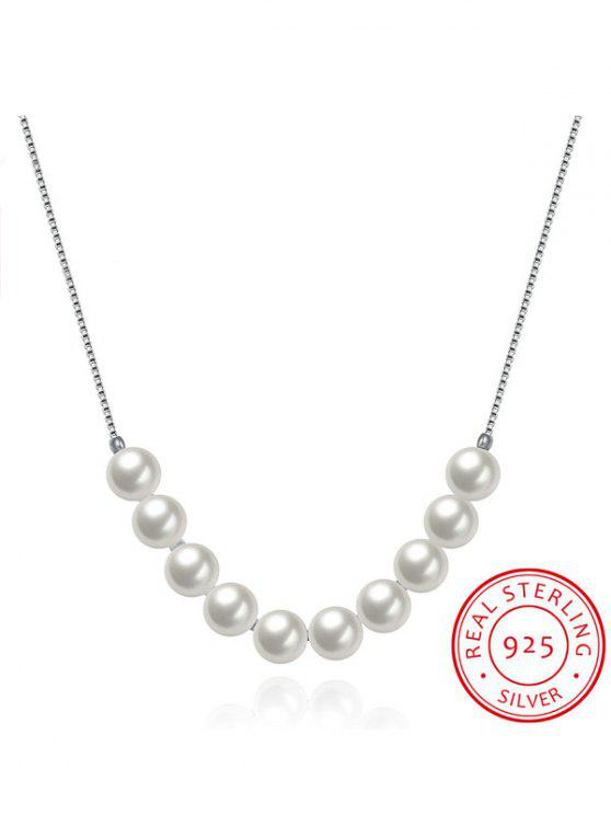 outfit Faux Pearl 925 Silver Collarbone Necklace - SILVER