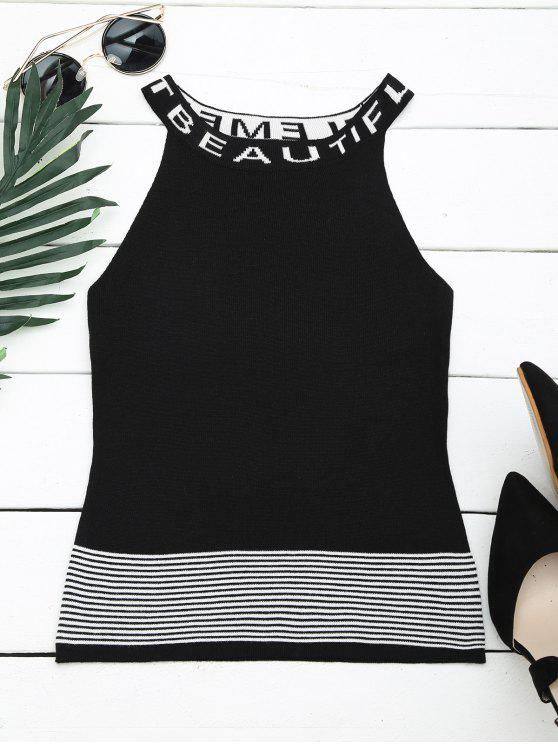 new Letter Graphic Striped Knitted Tank Top - BLACK ONE SIZE