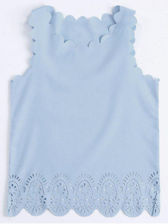 shop Scalloped Hem Hollow Out Tank Top - LIGHT BLUE XL