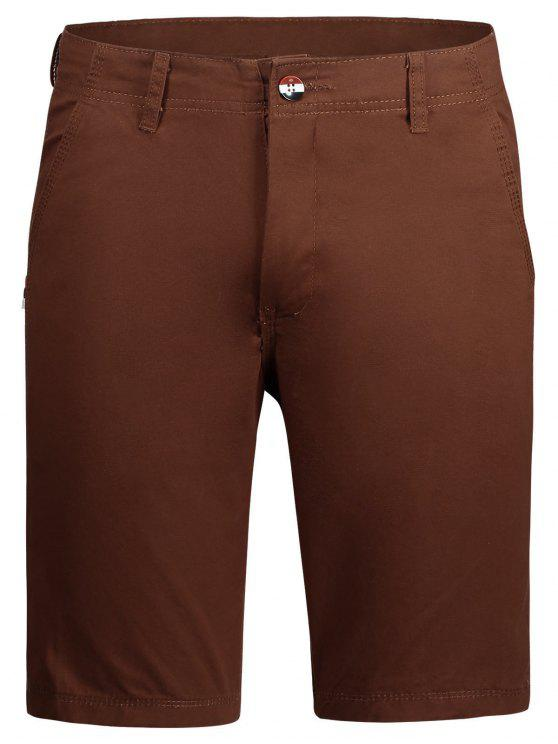chic Casual Zip Fly Plain Chino Shorts - BRICK-RED 36
