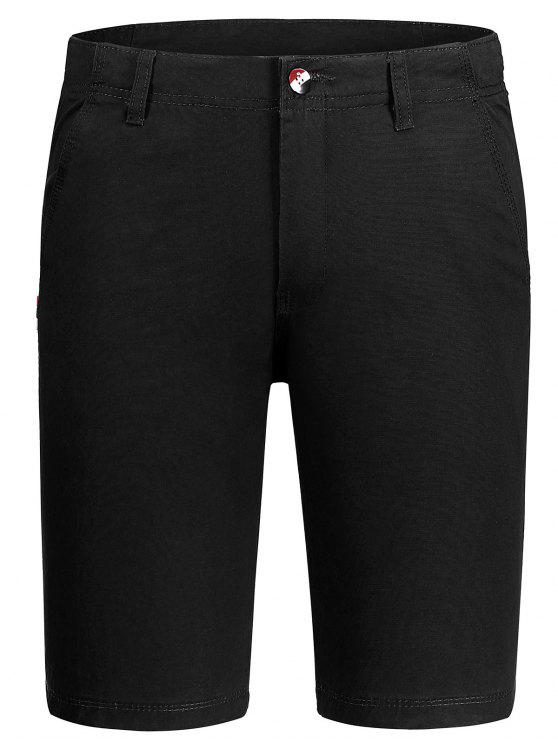 womens Casual Zip Fly Cotton Chino Shorts - BLACK 32
