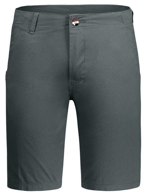 Zip Fly Plain Chino Shorts - Gris 32