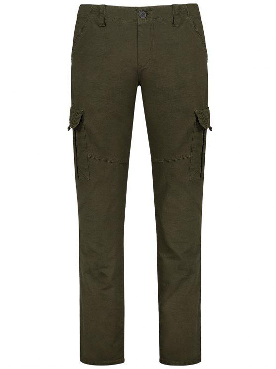 Flap Pockets Zip Fly Straight Cargo Pants - verde oliva 32