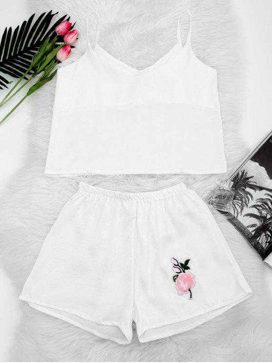 affordable Floral Patched Cami Top and Shorts Set - WHITE S