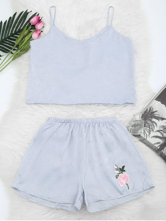 hot Floral Patched Cami Top and Shorts Set - STONE BLUE M