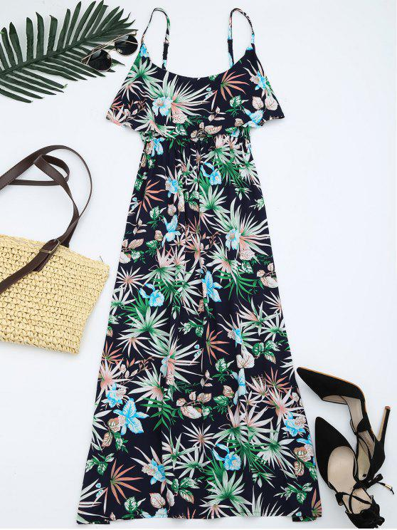 online Leaves Print Flounce Bohemian Cami Dress - MULTI ONE SIZE