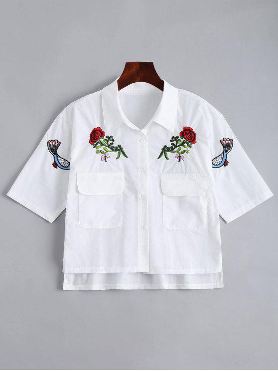new Floral Patched Button Up Pockets Shirt - WHITE ONE SIZE