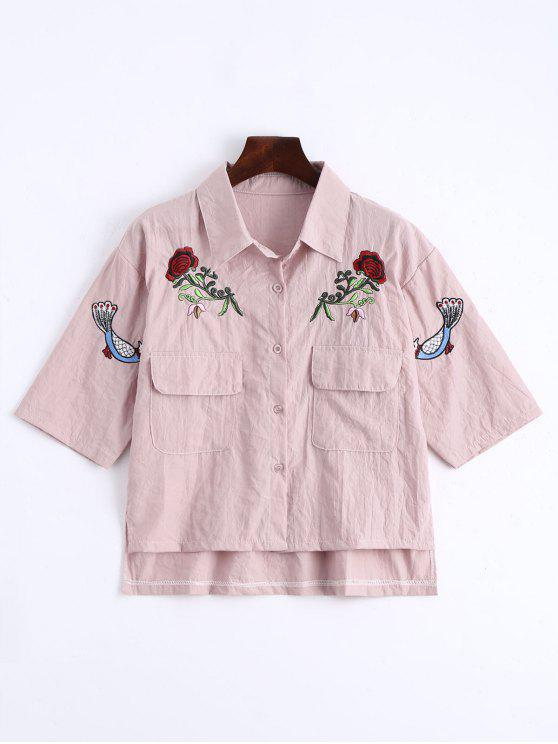 outfit Floral Patched Button Up Pockets Shirt - PINK ONE SIZE