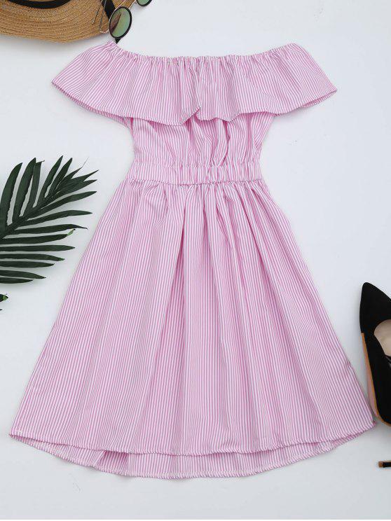 best Open Back Striped Off The Shoulder Dress - PINK S