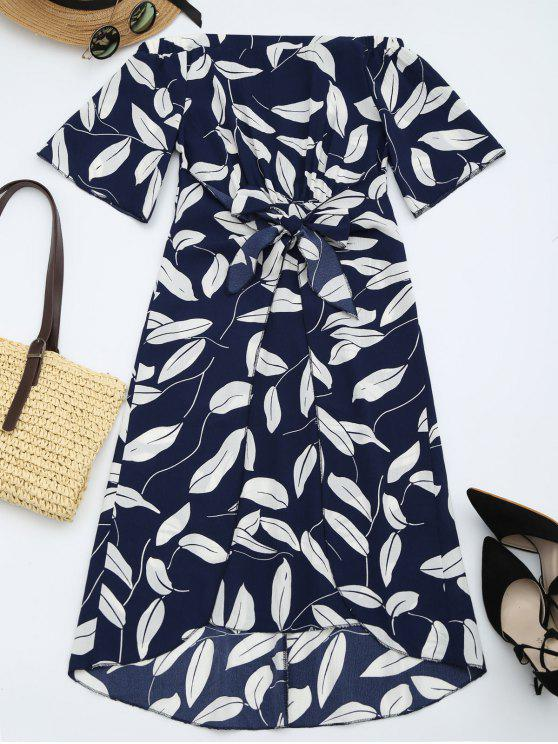 sale Leaves Print High Slit Asymmetric Dress - PURPLISH BLUE XL