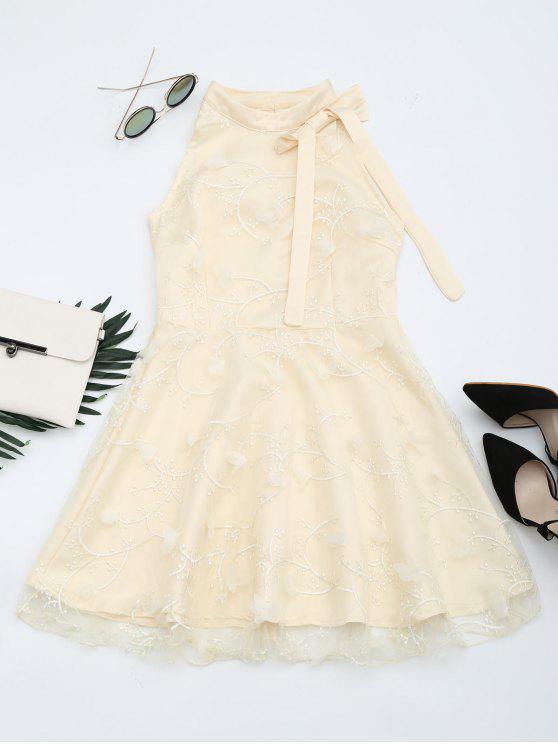 Robe Évasée Brodée Panel Avec Noeud Papillon en Maille - Abricot XL