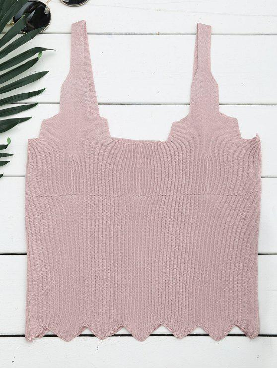 unique Zigzag Hem Sleeveless Knitted Crop Top - PINK ONE SIZE