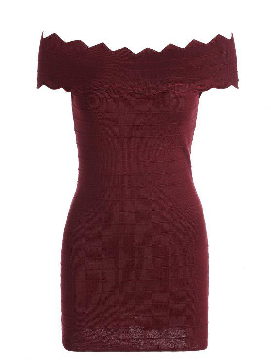 13b17fb7cc42 affordable Off The Shoulder Zigzag Hem Bodycon Dress - WINE RED ONE SIZE