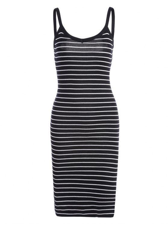 new Side Slit Striped Knitted Cami Dress - STRIPE ONE SIZE