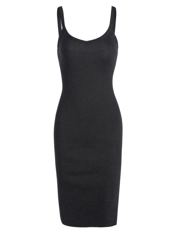 hot Side Slit Knitted Cami Sheath Dress - BLACK ONE SIZE