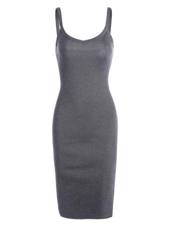 shop Side Slit Knitted Cami Sheath Dress - GRAY ONE SIZE