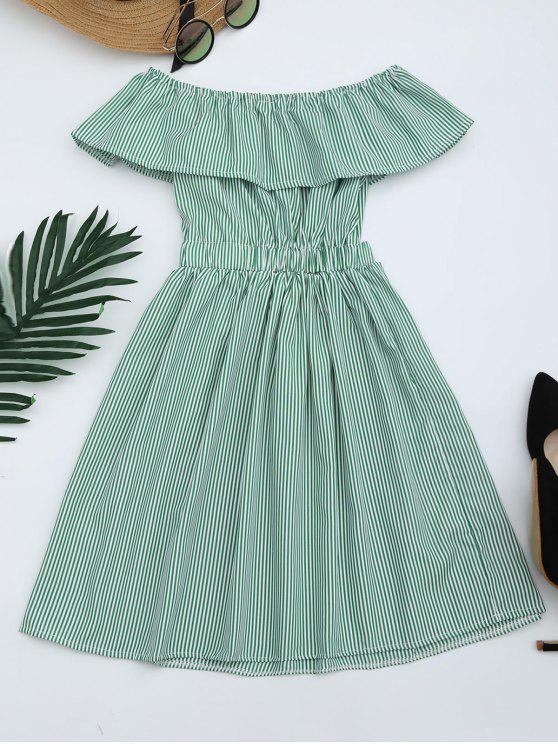 chic Open Back Striped Off The Shoulder Dress - GREEN S