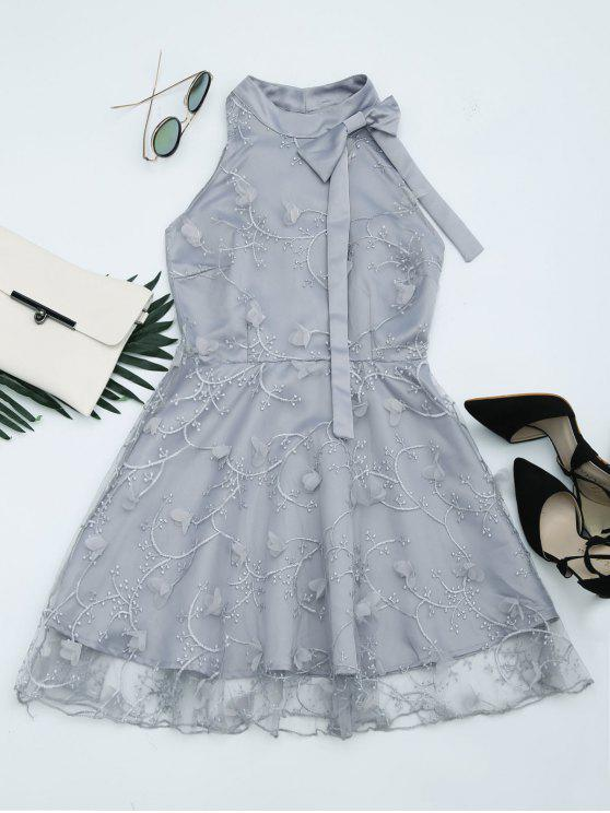 fancy Mesh Panel Bowknot Embellished Flare Dress - GRAY S