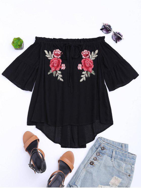 Haut épaules dénudées avec broderie florale - Noir XL