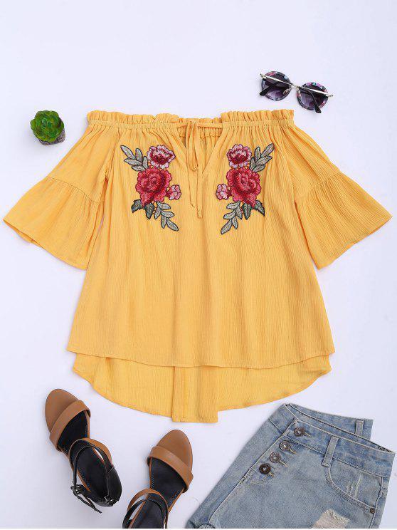 Floral bordado de la parte superior del hombro - Amarillo 2XL