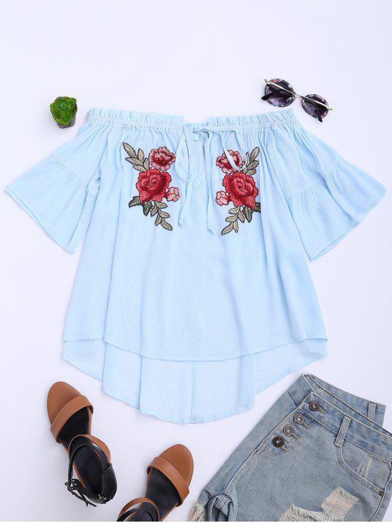 Haut épaules dénudées avec broderie florale - Bleu Léger  XL