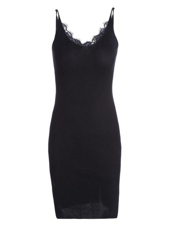 online Lace Panel Side Slit Knitted Dress - BLACK ONE SIZE