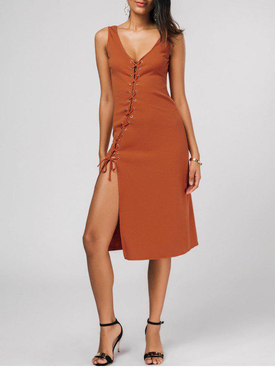 Bleistift Tank Kleid mit Schrägschneidung und Schnürsenkel - Roter Zirkon S