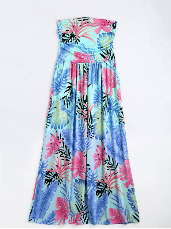 unique Leaves Print Strapless Maxi Dress - MULTI S