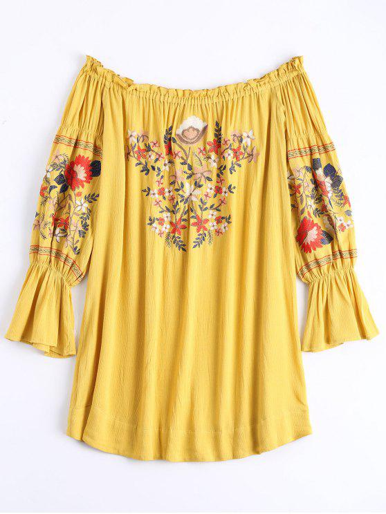 outfit Ruffle Hem Floral Embroidery Shift Dress - GINGER XL