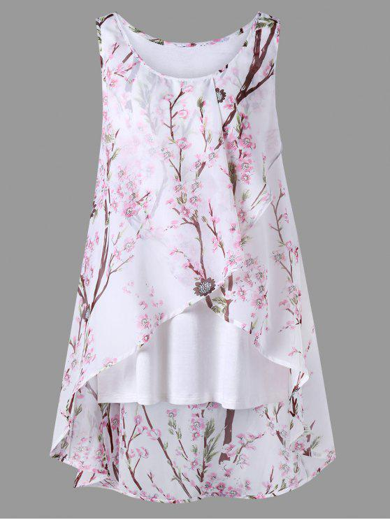 online Plus Size Tiny Floral Overlap Sleeveless Top - PINK XL