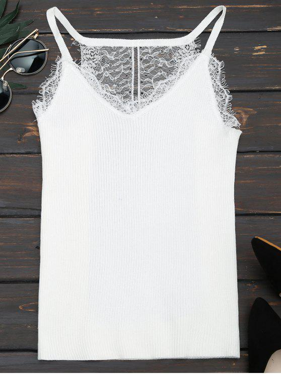 online Lace Panel Ribbed Knitted Cami Top - WHITE ONE SIZE