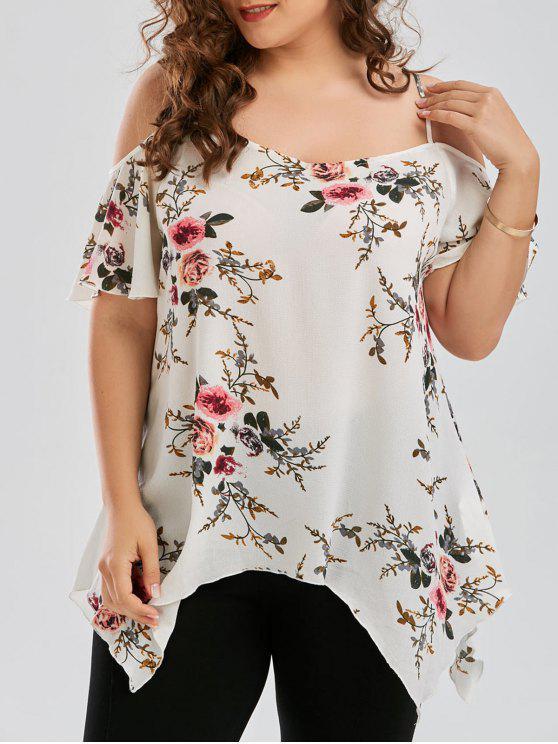 sale Plus Size Dew Shoulder Tiny Floral Blouse - WHITE XL