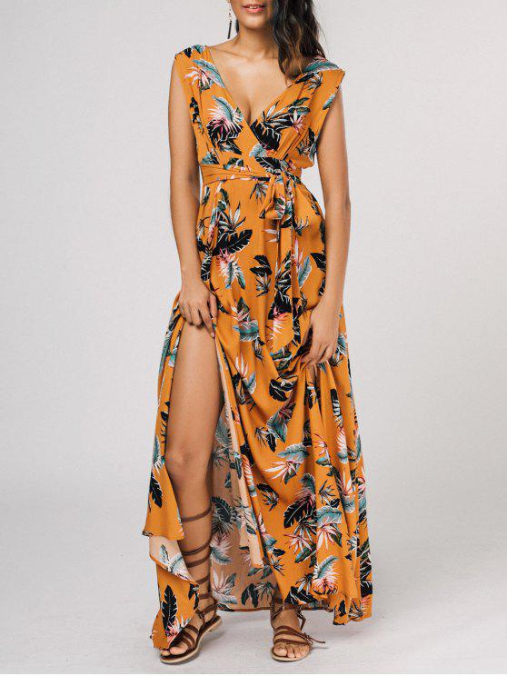 outfits Self Tie High Slit Floral Maxi Surplice Dress - YELLOW M