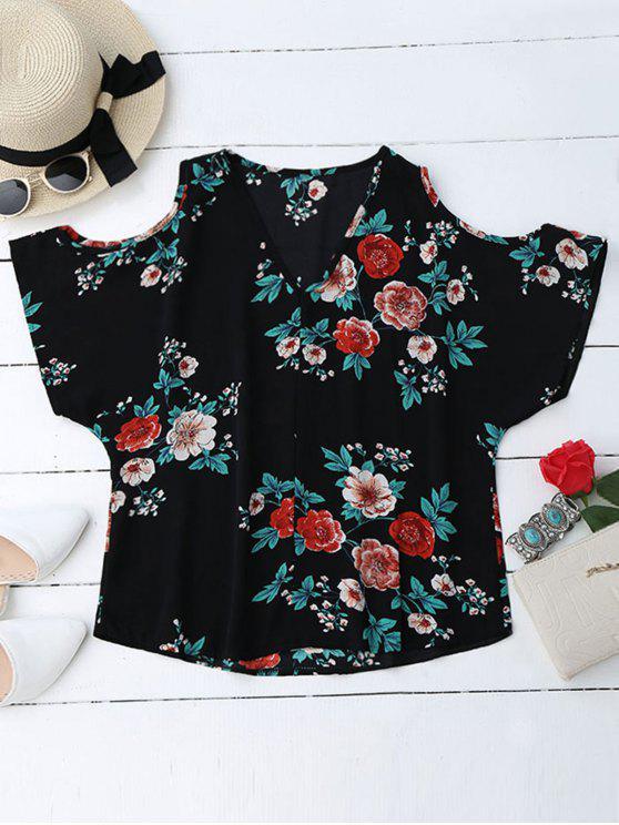 women V Neck Floral Cold Shoulder Top - BLACK S