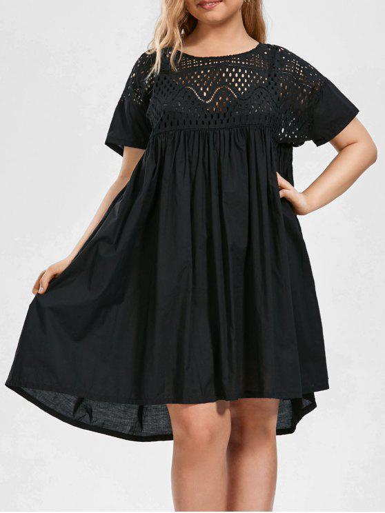 Plus Size Hollow Out Chiffon Trapeze Dress BLACK