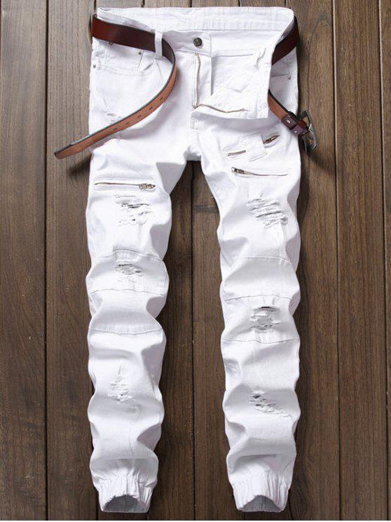 زيب إدراج الجينز ممزق جوجر - أبيض 32