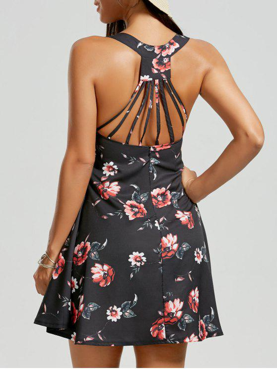 فستان قطع قصير شريط طباعة الأزهار - أسود M